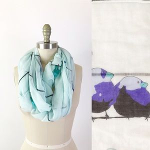 Collection XIIX Birds on a Wire Blue Gauze Scarf
